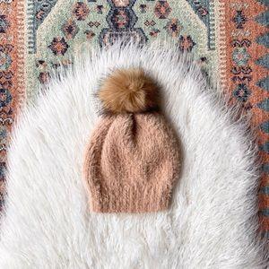 faux fur pompom beanie winter hat peachy plush